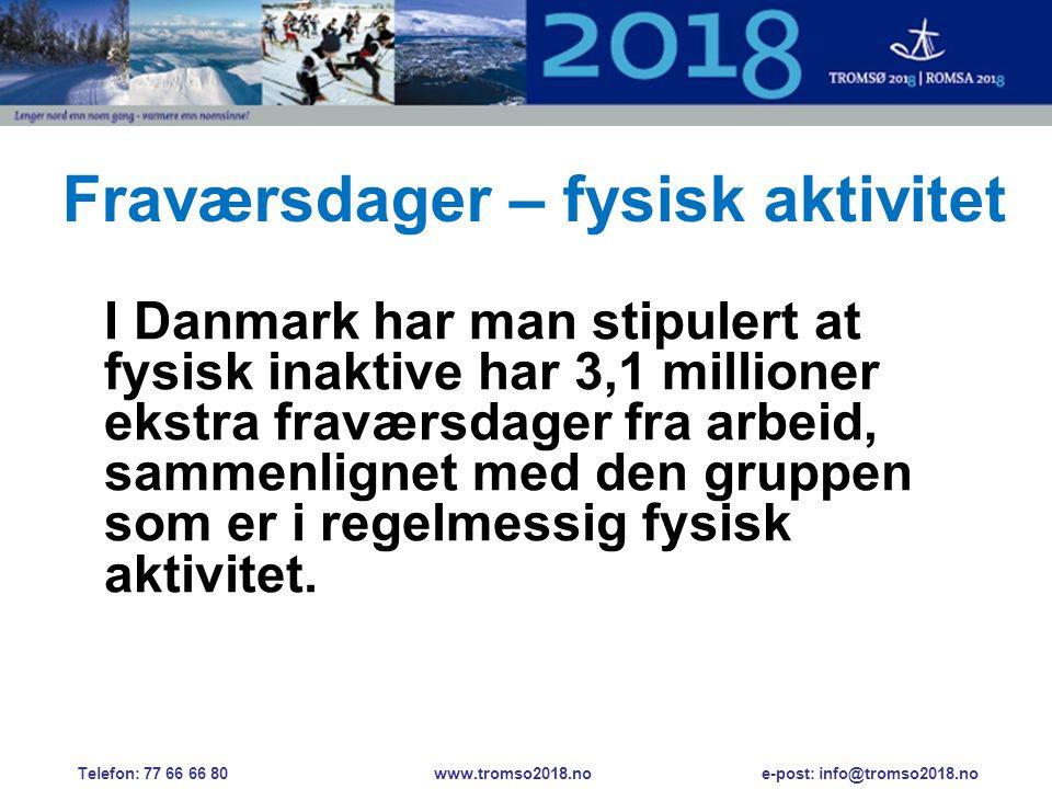 Fraværsdager – fysisk aktivitet I Danmark har man stipulert at fysisk inaktive har 3,1 millioner ekstra fraværsdager fra arbeid, sammenlignet med den gruppen som er i regelmessig fysisk aktivitet.