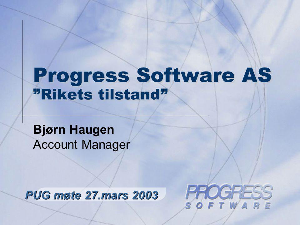 PUG Norway – Brukermøte mars 2003 2 Agenda n Resultat for Progress 2002 n Nyheter n Hva gjøres i Progress Norge n Studentprosjekt