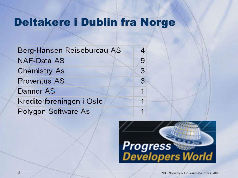 PUG Norway – Brukermøte mars 2003 14 Deltakere i Dublin fra Norge