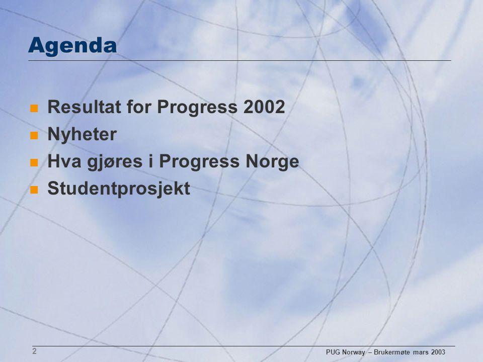 PUG Norway – Brukermøte mars 2003 13 Nye kunder Norge n Elkem (Sonic) n Sparerbank1 (Core Progress) n Nordmøre og Romsdal Felleskjøp (Guideix) n Sport 1 – kjeden (Lindbak) n Gresvig (Lindbak) n Bandasjistkjeden (Sonic) n Det Norske Veritas (eXcelon) n Avinor (Sonic) n Telenor Norge/ kundeservice (EDB Dolphin)