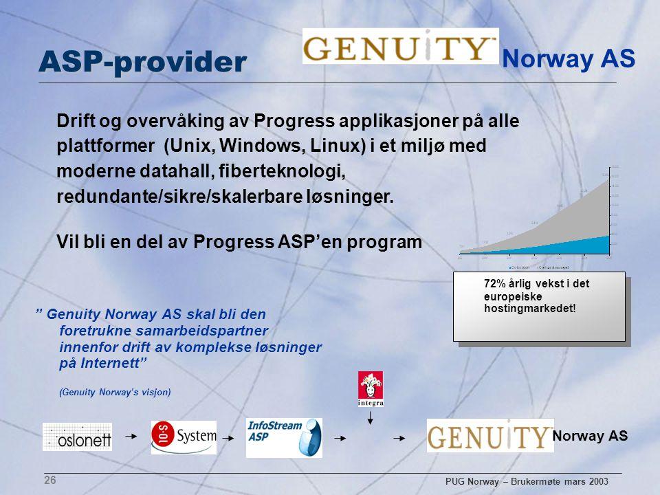"""PUG Norway – Brukermøte mars 2003 26 ASP-provider """" Genuity Norway AS skal bli den foretrukne samarbeidspartner innenfor drift av komplekse løsninger"""