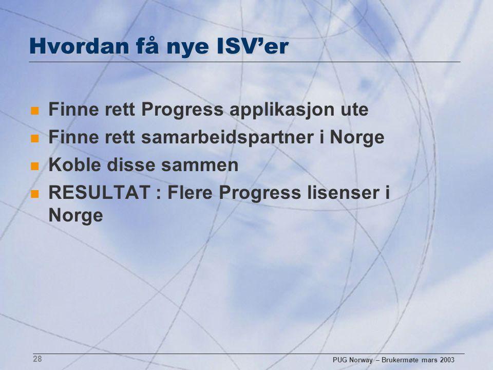 PUG Norway – Brukermøte mars 2003 28 Hvordan få nye ISV'er n Finne rett Progress applikasjon ute n Finne rett samarbeidspartner i Norge n Koble disse