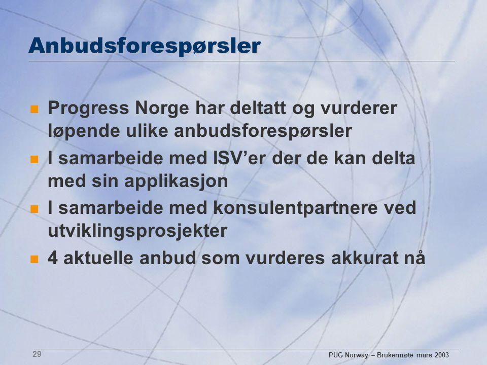 PUG Norway – Brukermøte mars 2003 29 Anbudsforespørsler n Progress Norge har deltatt og vurderer løpende ulike anbudsforespørsler n I samarbeide med I