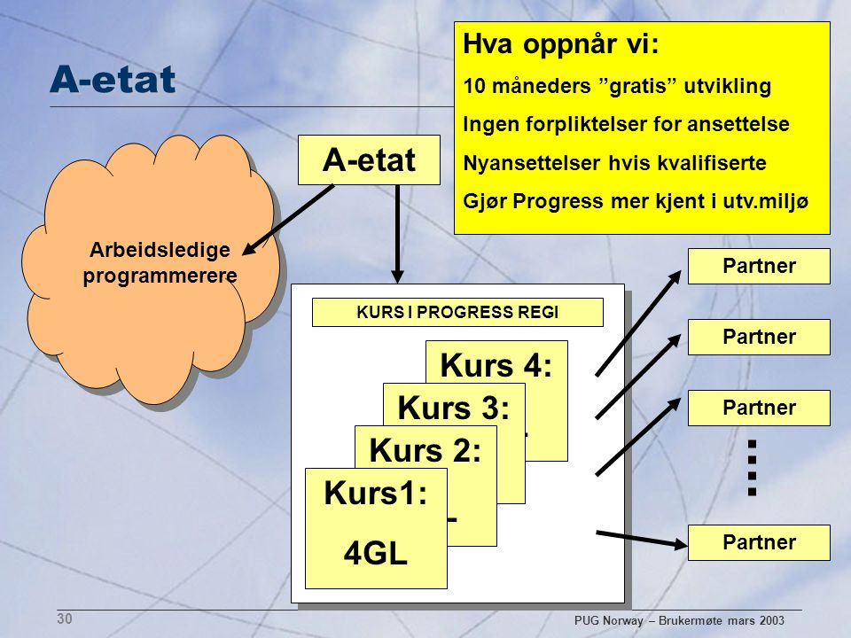 PUG Norway – Brukermøte mars 2003 30 A-etat Arbeidsledige programmerere Kurs 4: 4GL Kurs 3: Kurs 2: 4GL Kurs1: 4GL KURS I PROGRESS REGI Partner Hva op