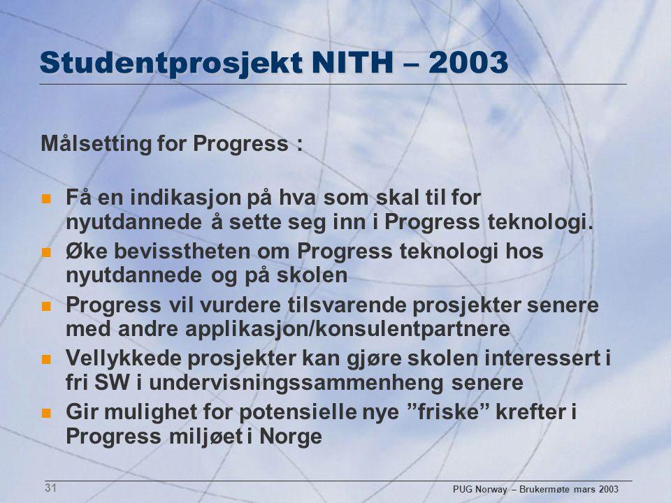 PUG Norway – Brukermøte mars 2003 31 Studentprosjekt NITH – 2003 Målsetting for Progress : n Få en indikasjon på hva som skal til for nyutdannede å se