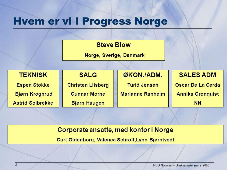 PUG Norway – Brukermøte mars 2003 4 Hvem er vi i Progress Norge Steve Blow Norge, Sverige, Danmark TEKNISK Espen Stokke Bjørn Kroghrud Astrid Solbrekk