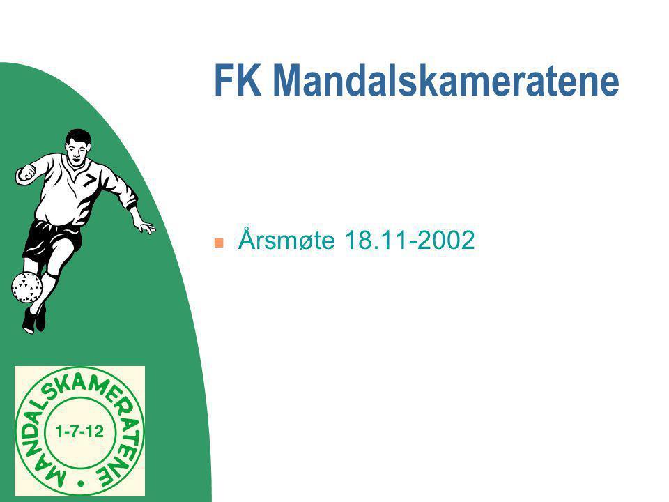 FK Mandalskameratene  Årsmøte 18.11-2002