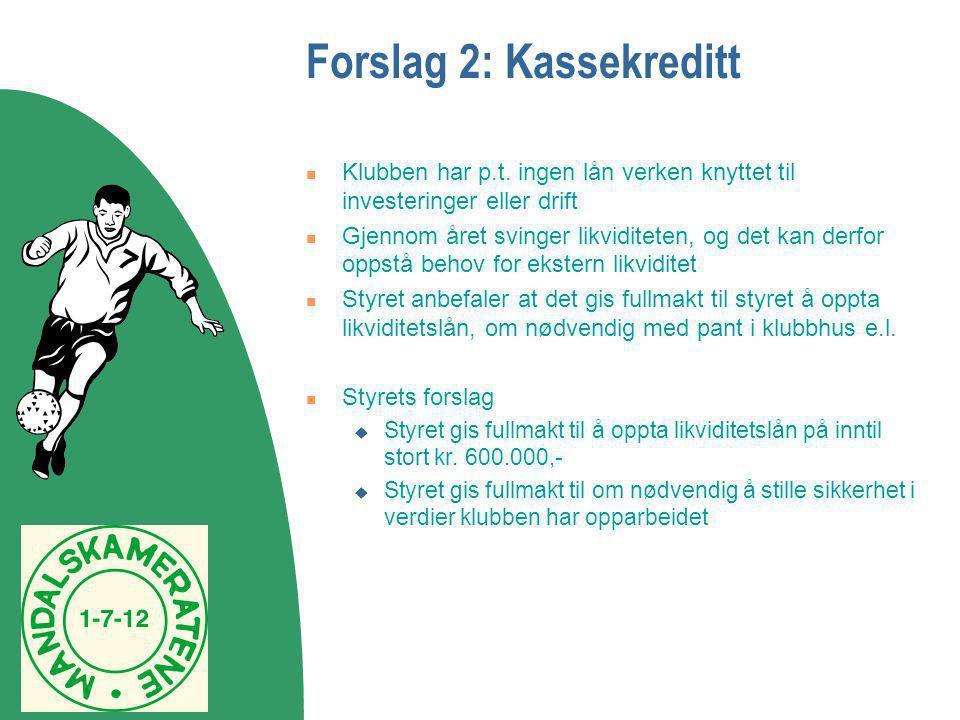 Forslag 2: Kassekreditt  Klubben har p.t. ingen lån verken knyttet til investeringer eller drift  Gjennom året svinger likviditeten, og det kan derf