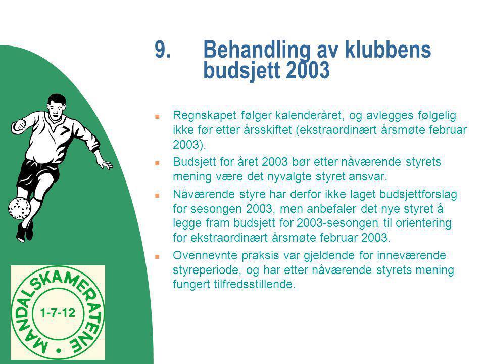 9.Behandling av klubbens budsjett 2003  Regnskapet følger kalenderåret, og avlegges følgelig ikke før etter årsskiftet (ekstraordinært årsmøte februa