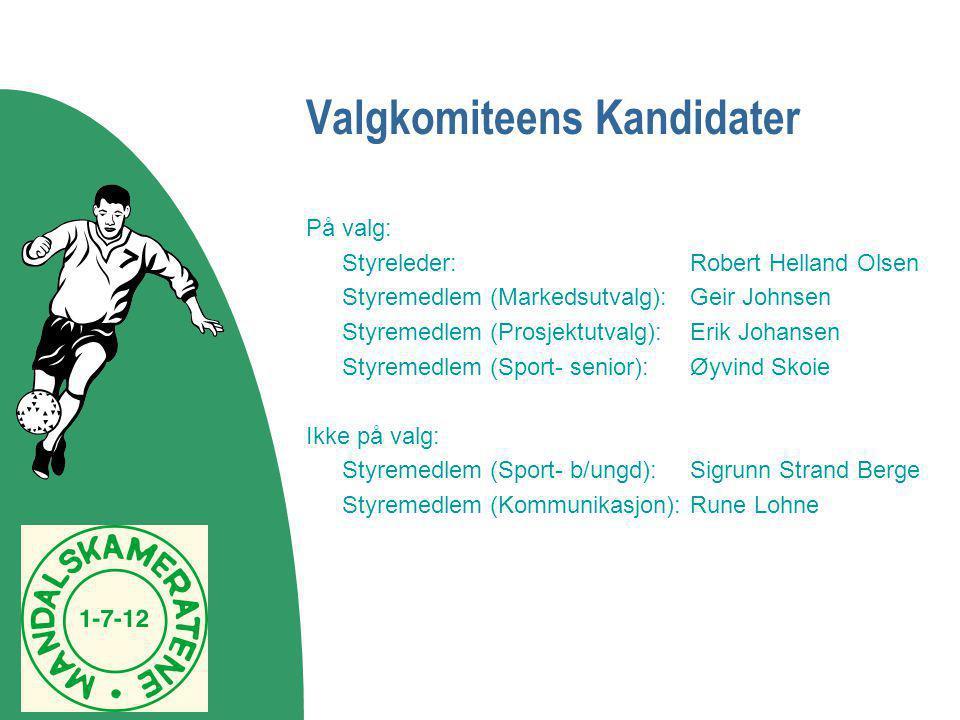 Valgkomiteens Kandidater På valg: Styreleder:Robert Helland Olsen Styremedlem (Markedsutvalg):Geir Johnsen Styremedlem (Prosjektutvalg):Erik Johansen