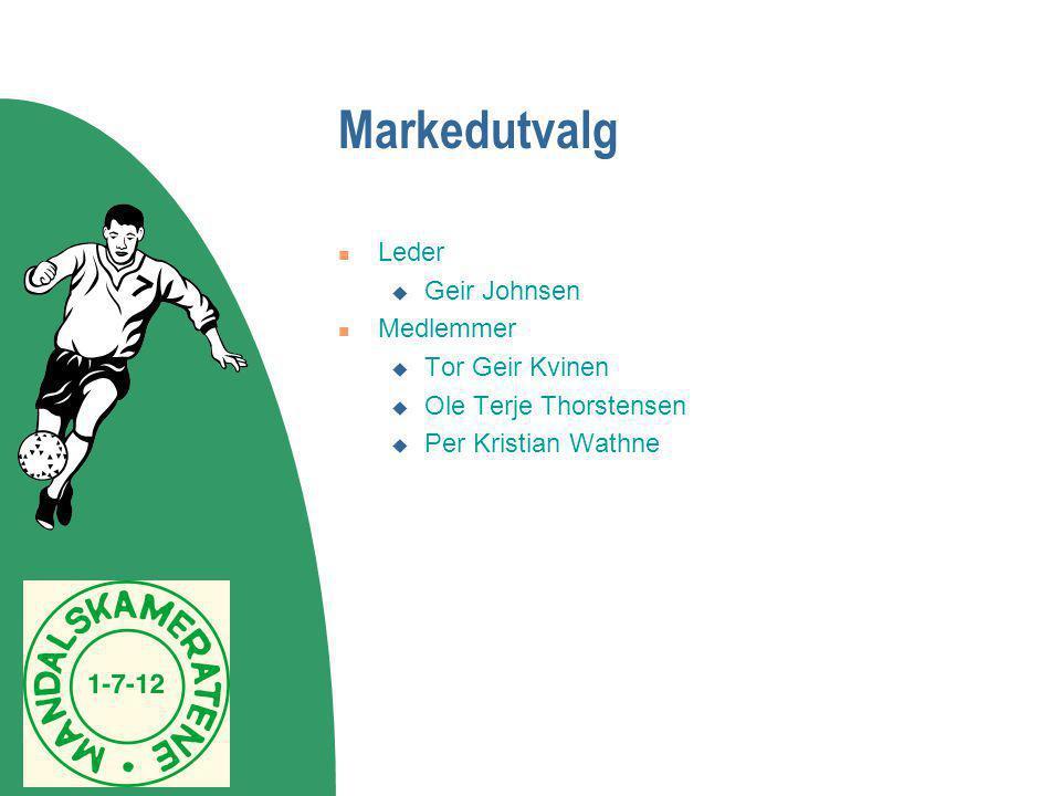 Markedutvalg  Leder  Geir Johnsen  Medlemmer  Tor Geir Kvinen  Ole Terje Thorstensen  Per Kristian Wathne
