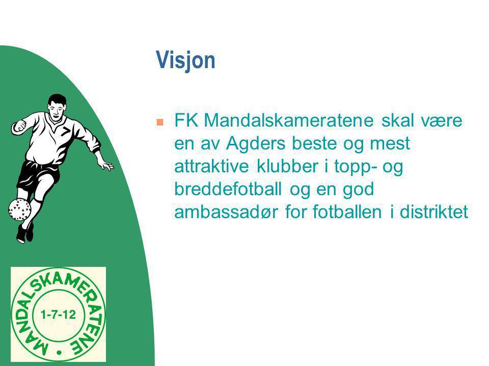 Visjon  FK Mandalskameratene skal være en av Agders beste og mest attraktive klubber i topp- og breddefotball og en god ambassadør for fotballen i di