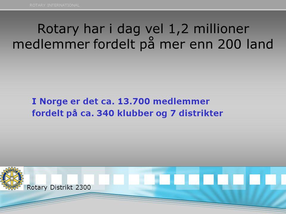 ROTARY INTERNATIONAL Rotary har i dag vel 1,2 millioner medlemmer fordelt på mer enn 200 land I Norge er det ca. 13.700 medlemmer fordelt på ca. 340 k