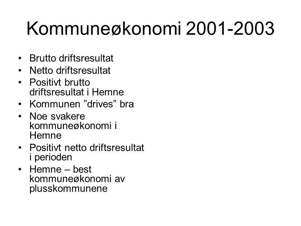 "Kommuneøkonomi 2001-2003 •Brutto driftsresultat •Netto driftsresultat •Positivt brutto driftsresultat i Hemne •Kommunen ""drives"" bra •Noe svakere komm"