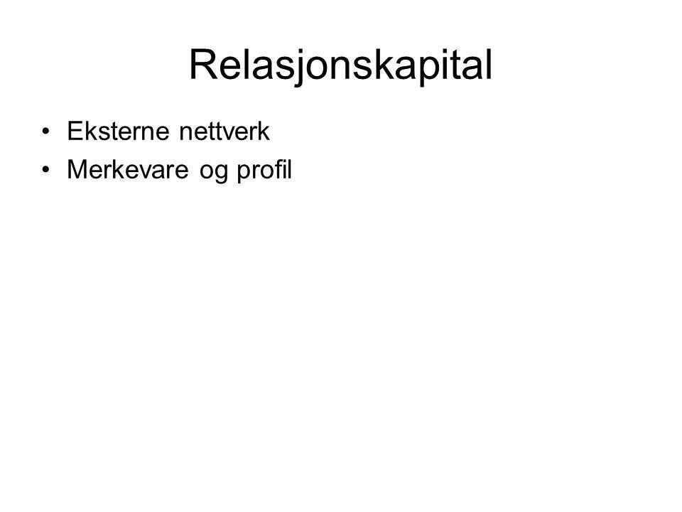 Relasjonskapital •Eksterne nettverk •Merkevare og profil