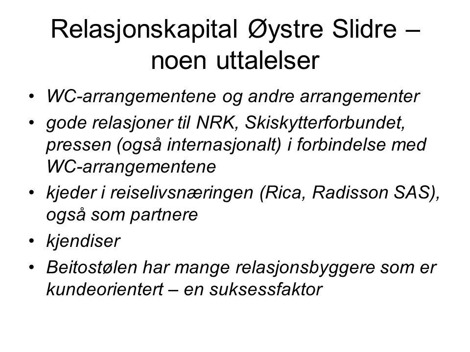 Relasjonskapital Øystre Slidre – noen uttalelser •WC-arrangementene og andre arrangementer •gode relasjoner til NRK, Skiskytterforbundet, pressen (ogs