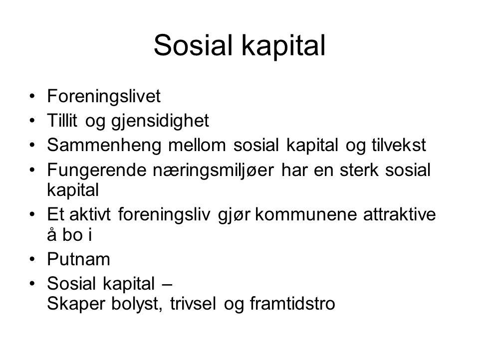Sosial kapital •Foreningslivet •Tillit og gjensidighet •Sammenheng mellom sosial kapital og tilvekst •Fungerende næringsmiljøer har en sterk sosial ka