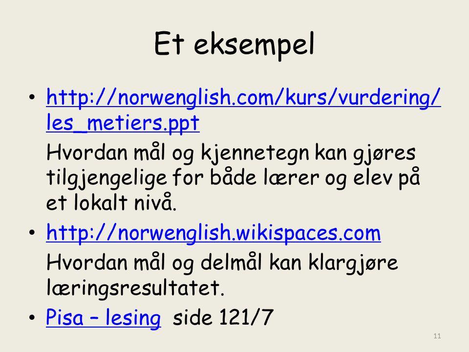 Et eksempel • http://norwenglish.com/kurs/vurdering/ les_metiers.ppt http://norwenglish.com/kurs/vurdering/ les_metiers.ppt Hvordan mål og kjennetegn