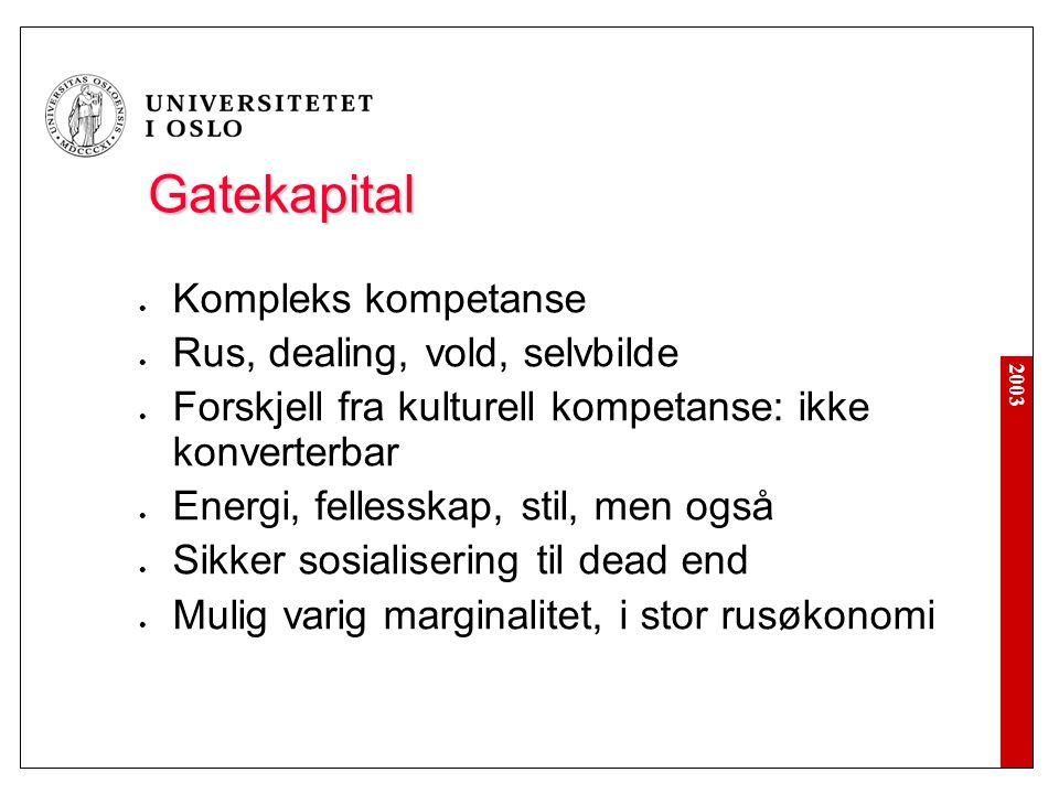 2003 Gatekapital  Kompleks kompetanse  Rus, dealing, vold, selvbilde  Forskjell fra kulturell kompetanse: ikke konverterbar  Energi, fellesskap, s