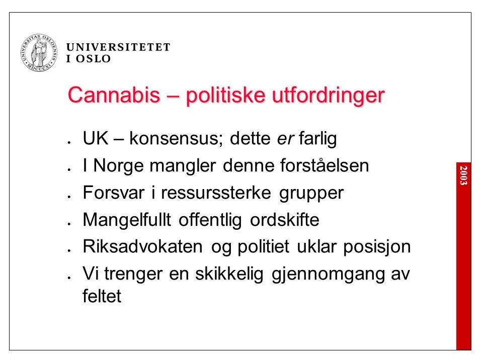 2003 Cannabis – politiske utfordringer  UK – konsensus; dette er farlig  I Norge mangler denne forståelsen  Forsvar i ressurssterke grupper  Mange