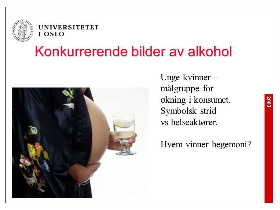 2003 Konkurrerende bilder av alkohol Unge kvinner – målgruppe for økning i konsumet. Symbolsk strid vs helseaktører. Hvem vinner hegemoni?