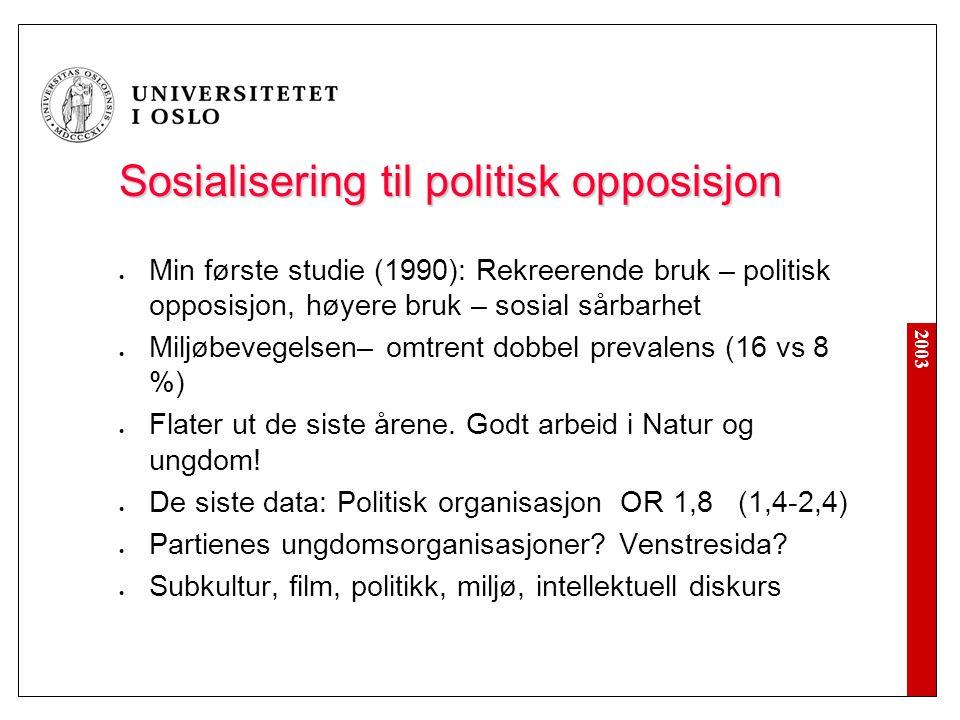 2003 Sosialisering til politisk opposisjon  Min første studie (1990): Rekreerende bruk – politisk opposisjon, høyere bruk – sosial sårbarhet  Miljøb