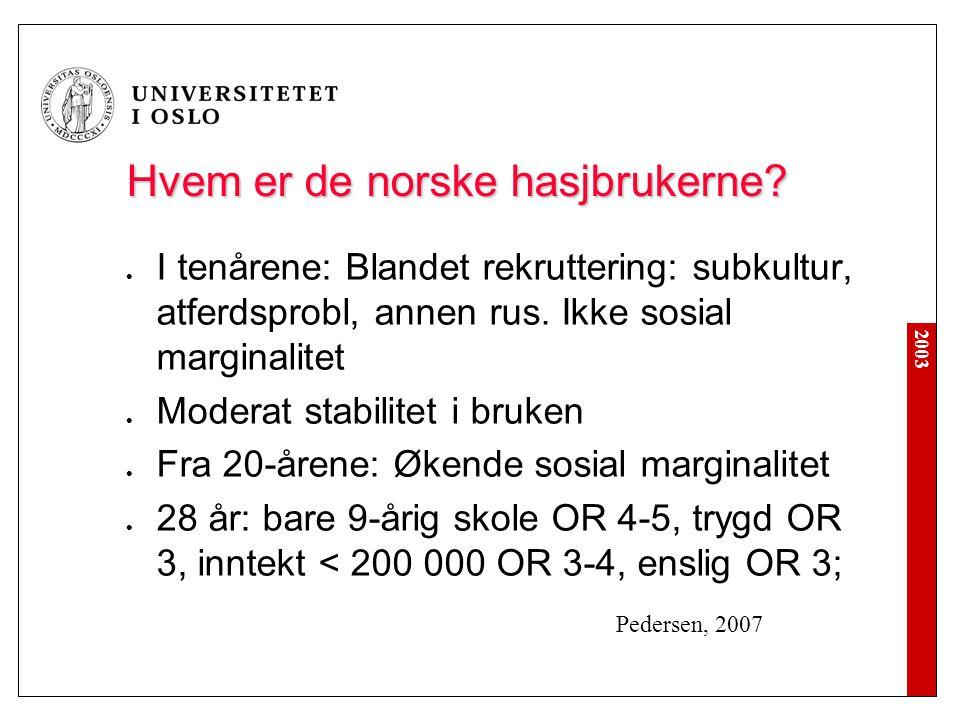 2003 Hvem er de norske hasjbrukerne?  I tenårene: Blandet rekruttering: subkultur, atferdsprobl, annen rus. Ikke sosial marginalitet  Moderat stabil