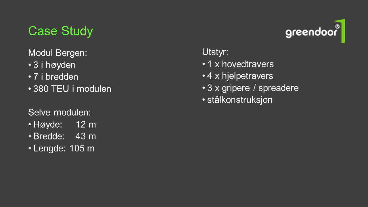 Modul Bergen: •3 i høyden •7 i bredden •380 TEU i modulen Selve modulen: •Høyde: 12 m •Bredde: 43 m •Lengde: 105 m Utstyr: •1 x hovedtravers •4 x hjel