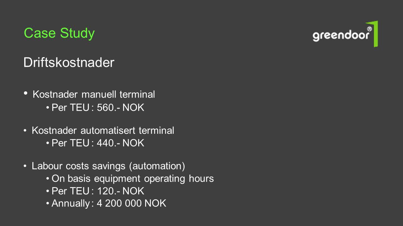 Driftskostnader • Kostnader manuell terminal •Per TEU: 560.- NOK • Kostnader automatisert terminal •Per TEU: 440.- NOK • Labour costs savings (automat