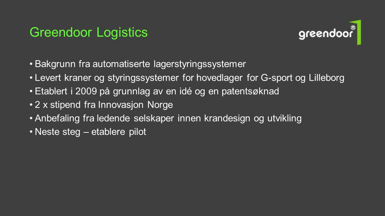Greendoor Logistics •Bakgrunn fra automatiserte lagerstyringssystemer •Levert kraner og styringssystemer for hovedlager for G-sport og Lilleborg •Etab