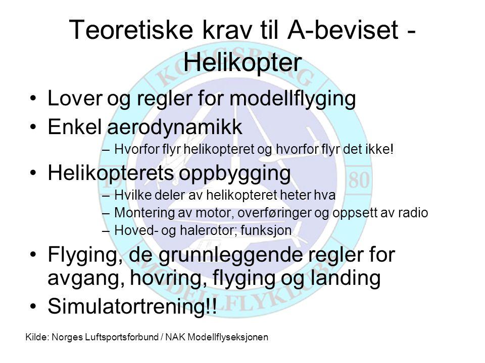 Teoretiske krav til A-beviset - Helikopter •Lover og regler for modellflyging •Enkel aerodynamikk –Hvorfor flyr helikopteret og hvorfor flyr det ikke.