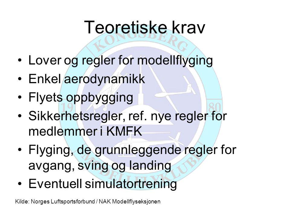 Teoretiske krav •Lover og regler for modellflyging •Enkel aerodynamikk •Flyets oppbygging •Sikkerhetsregler, ref. nye regler for medlemmer i KMFK •Fly