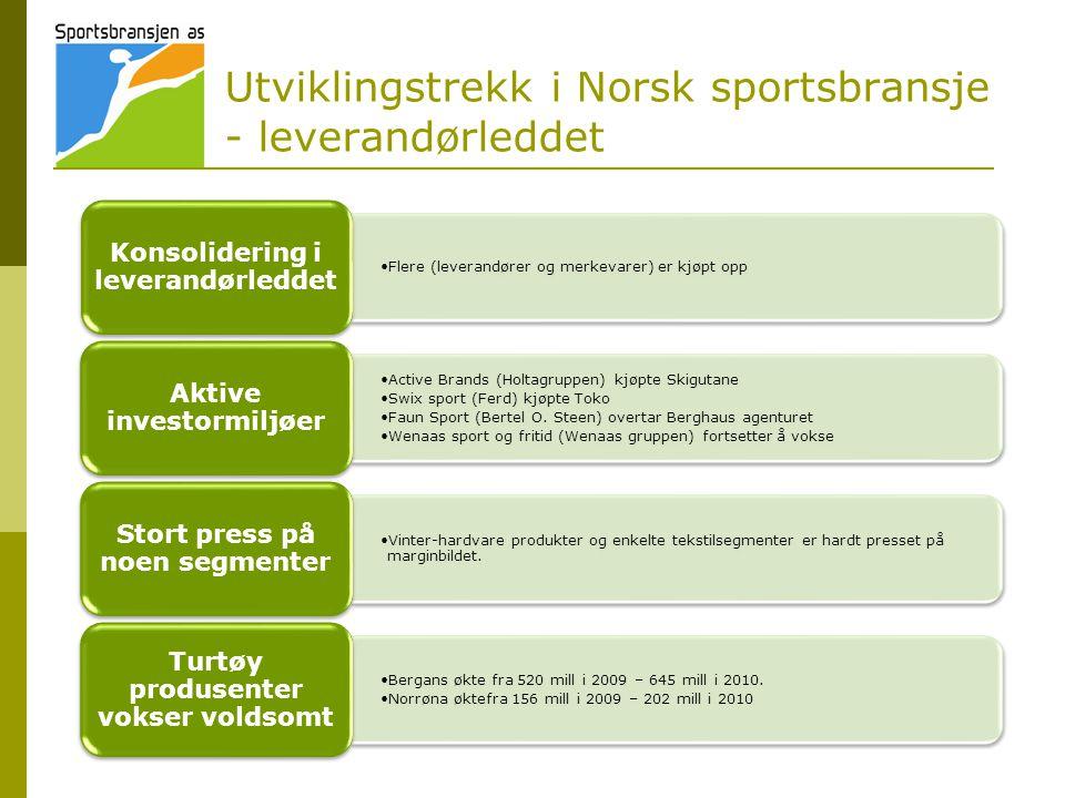 Utviklingstrekk i Norsk sportsbransje - leverandørleddet •Flere (leverandører og merkevarer) er kjøpt opp Konsolidering i leverandørleddet •Active Brands (Holtagruppen) kjøpte Skigutane •Swix sport (Ferd) kjøpte Toko •Faun Sport (Bertel O.
