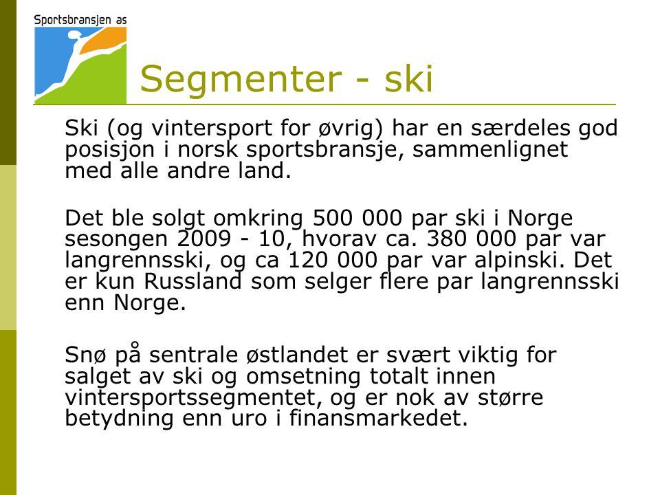 Segmenter - ski Ski (og vintersport for øvrig) har en særdeles god posisjon i norsk sportsbransje, sammenlignet med alle andre land.