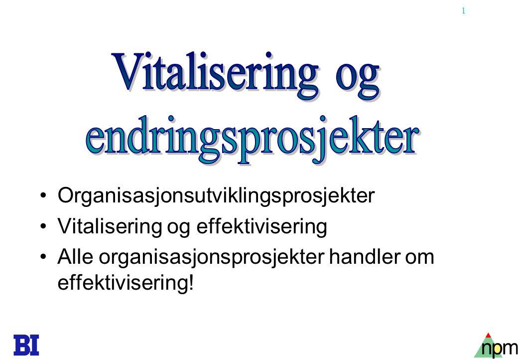 1 •Organisasjonsutviklingsprosjekter •Vitalisering og effektivisering •Alle organisasjonsprosjekter handler om effektivisering!