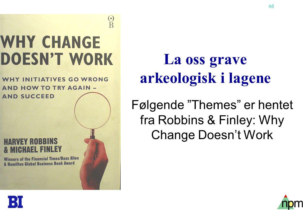 46 La oss grave arkeologisk i lagene Følgende Themes er hentet fra Robbins & Finley: Why Change Doesn't Work