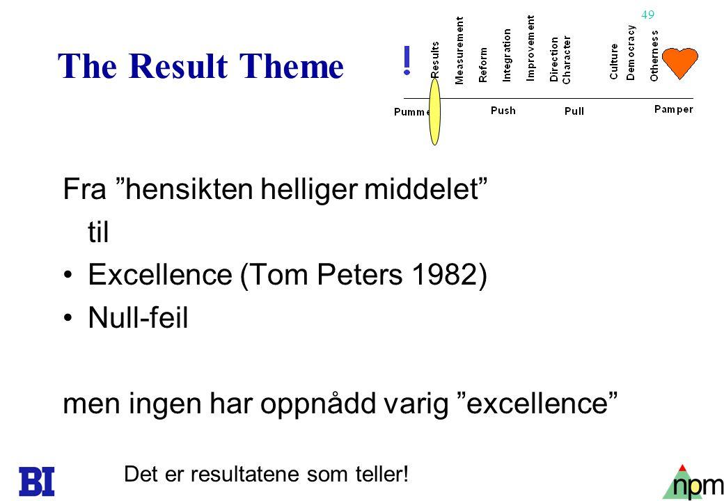 49 The Result Theme Fra hensikten helliger middelet til •Excellence (Tom Peters 1982) •Null-feil men ingen har oppnådd varig excellence Det er resultatene som teller!
