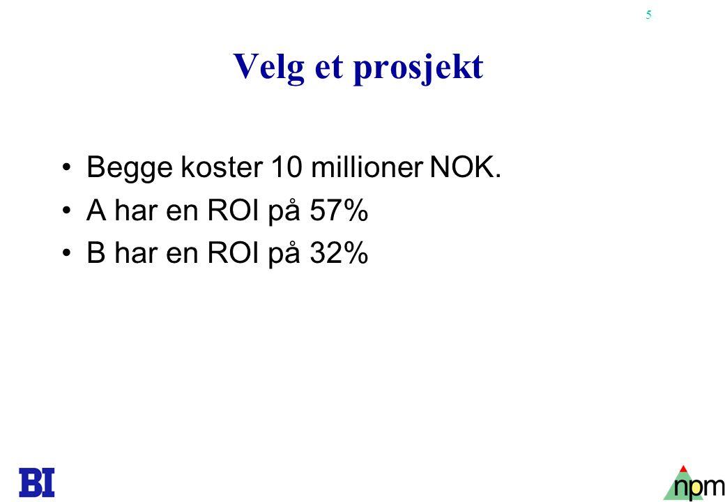 5 Velg et prosjekt •Begge koster 10 millioner NOK. •A har en ROI på 57% •B har en ROI på 32%
