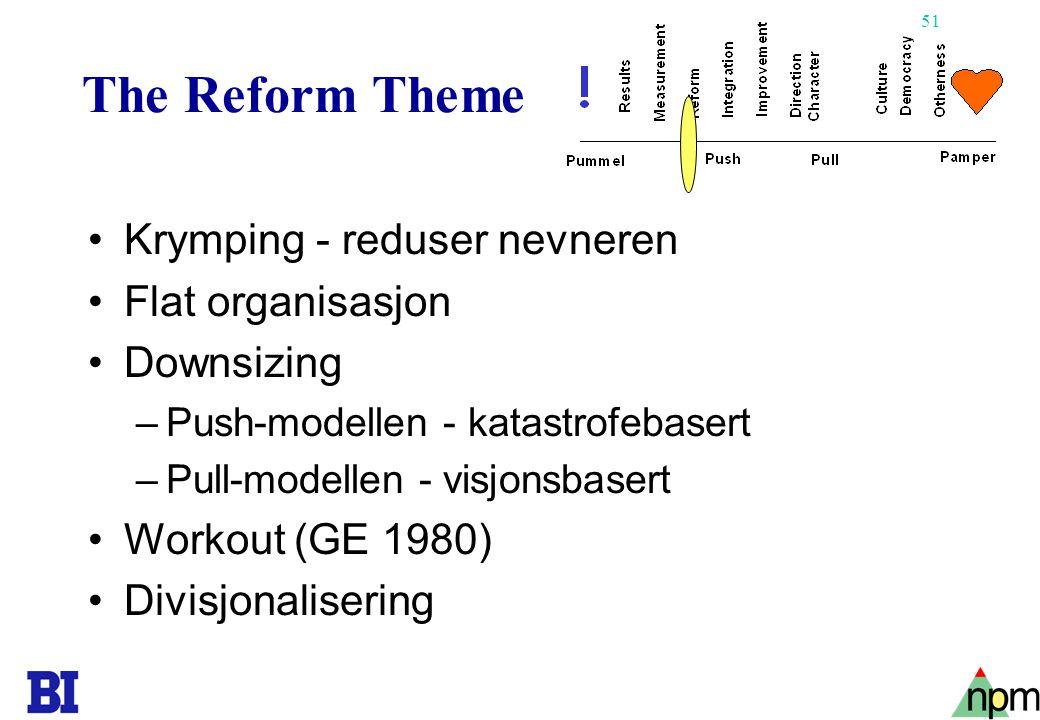 51 The Reform Theme •Krymping - reduser nevneren •Flat organisasjon •Downsizing –Push-modellen - katastrofebasert –Pull-modellen - visjonsbasert •Work