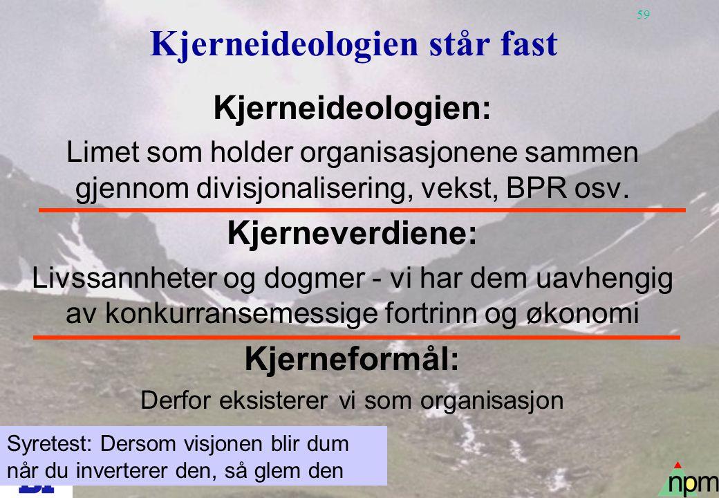 59 Kjerneideologien står fast Kjerneideologien: Limet som holder organisasjonene sammen gjennom divisjonalisering, vekst, BPR osv. Kjerneverdiene: Liv