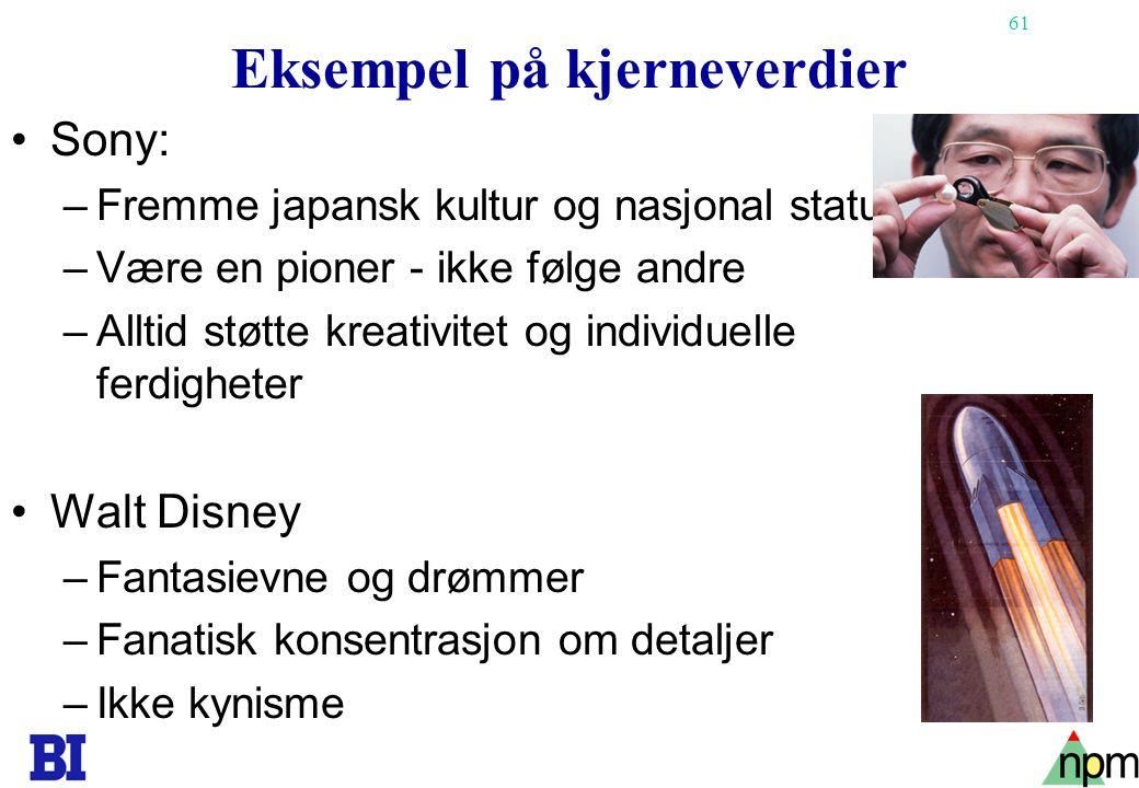 61 Eksempel på kjerneverdier •Sony: –Fremme japansk kultur og nasjonal status –Være en pioner - ikke følge andre –Alltid støtte kreativitet og individuelle ferdigheter •Walt Disney –Fantasievne og drømmer –Fanatisk konsentrasjon om detaljer –Ikke kynisme