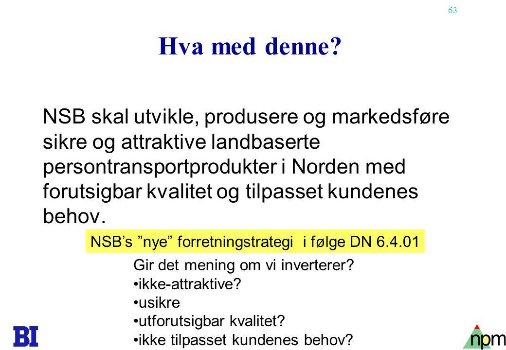 63 Hva med denne? NSB skal utvikle, produsere og markedsføre sikre og attraktive landbaserte persontransportprodukter i Norden med forutsigbar kvalite