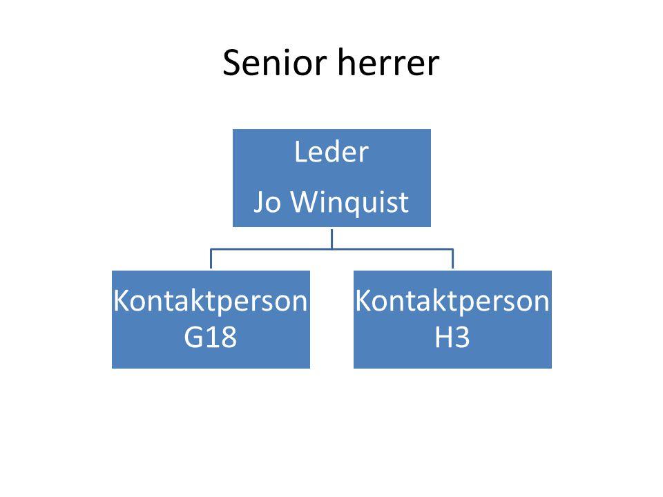 Senior herrer Leder Jo Winquist Kontaktperson G18 Kontaktperson H3