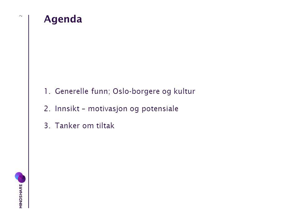 Agenda 1.Generelle funn; Oslo-borgere og kultur 2.Innsikt – motivasjon og potensiale 3.Tanker om tiltak 2