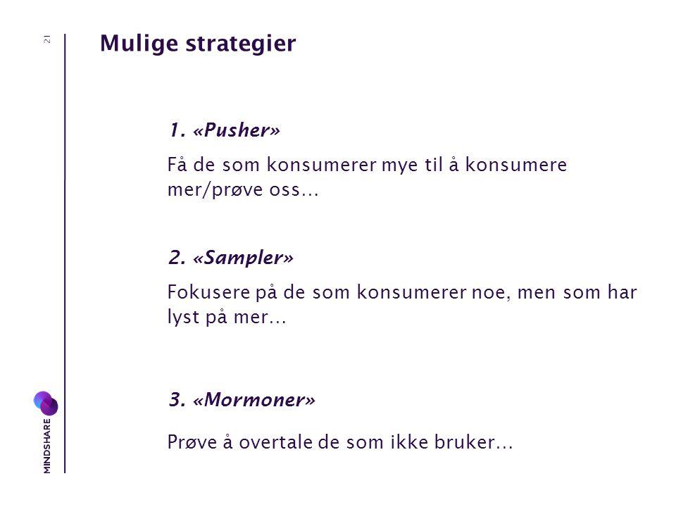 Mulige strategier 1. «Pusher» Få de som konsumerer mye til å konsumere mer/prøve oss… 2.