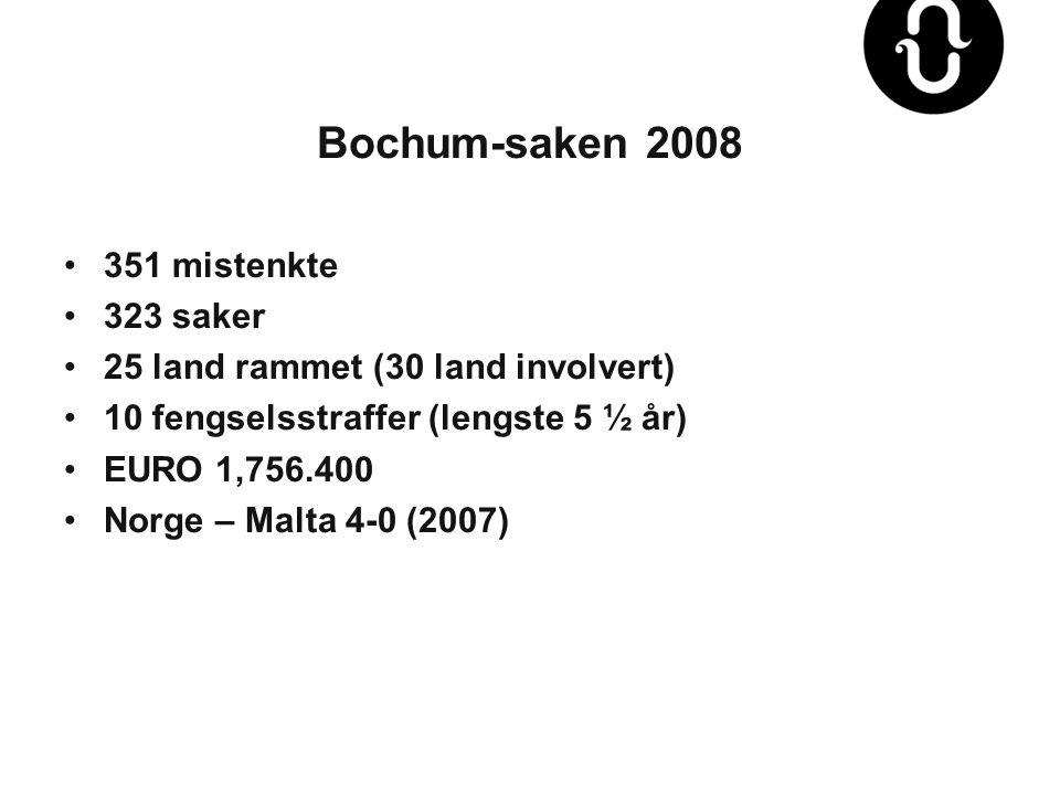 Bochum-saken 2008 •351 mistenkte •323 saker •25 land rammet (30 land involvert) •10 fengselsstraffer (lengste 5 ½ år) •EURO 1,756.400 •Norge – Malta 4-0 (2007)