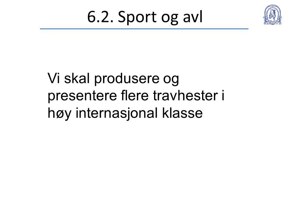 6.2. Sport og avl Vi skal produsere og presentere flere travhester i høy internasjonal klasse
