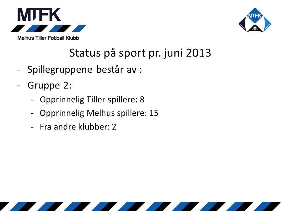 Status på sport pr. juni 2013 -Spillegruppene består av : -Gruppe 2: -Opprinnelig Tiller spillere: 8 -Opprinnelig Melhus spillere: 15 -Fra andre klubb