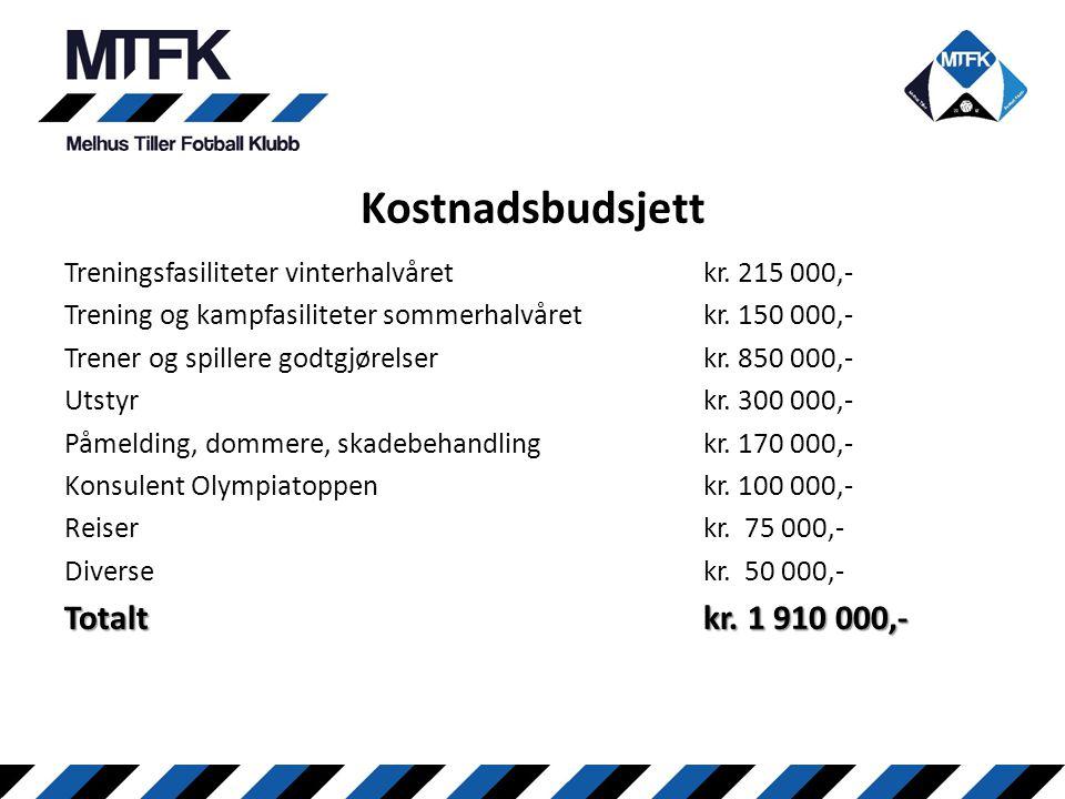 Treningsfasiliteter vinterhalvåret kr. 215 000,- Trening og kampfasiliteter sommerhalvåret kr. 150 000,- Trener og spillere godtgjørelserkr. 850 000,-