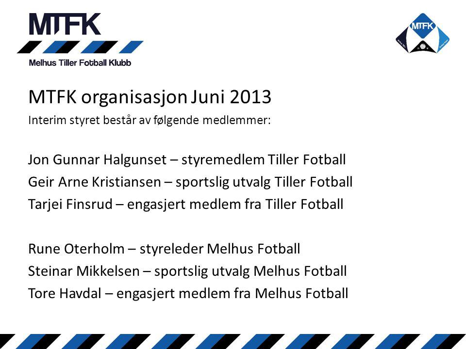 MTFK organisasjon Juni 2013 Interim styret består av følgende medlemmer: Jon Gunnar Halgunset – styremedlem Tiller Fotball Geir Arne Kristiansen – spo